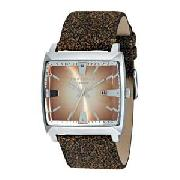 Identity Mens Brown Strap Watch
